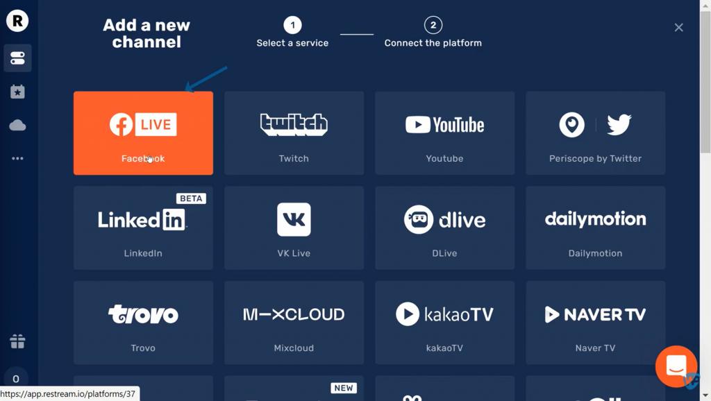 Multi Streaming to Facebook as stream destination