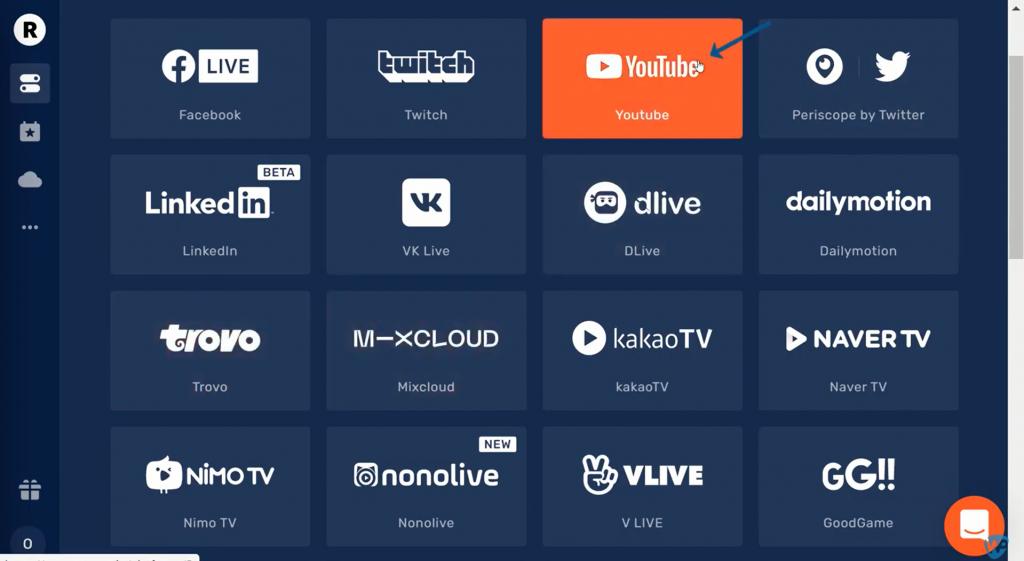 Multi streaming to YouTube as stream destination